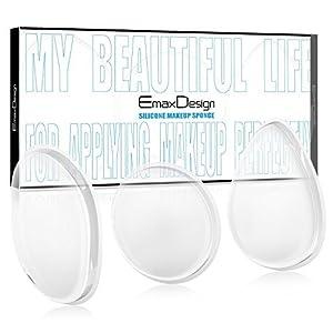 Emaxdesign Spugna per trucco in silicone, Pofessionale Silicone spugna trucco slisponge bellezza cosmetici Blender utensili ideali per applicazione creme e liquidi (3 pezzi)