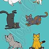 5er-Set Geschenkpapier Bögen Yoga Cats Katzen - Für Geburtstage, Hochzeiten, Weihnachten, Kindergeburtstag Format : 50 x 70 cm