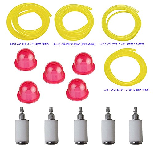 OuyFilters 530069599 530095646 Fuel Filter with Fuel Line and 530058709 Primer Bulb for PP338PT PP333 FL1500 Poulan Cratman Weed Eater String Trimmer -