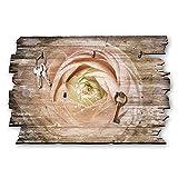 Kreative Feder Blüte Morgentau Designer Schlüsselbrett, Hakenleiste Landhaus Style, Shabby aus Holz 30x20cm, HSB012