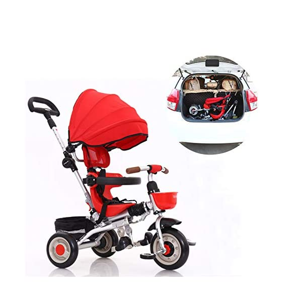 3 In 1 Tricycle 6 Months To 6 Years Folding Sun Canopy 3-Point Safety Belt Childrens Tricycles Blockable Rear Wheels Detachable And Adjustable Push Handle Folding Trike Maximum Weight 25 Kg,Red BGHKFF ★ 3-in-1 multi-function: convertible into stroller and tricycle. Remove the putter and awning as a tricycle. The best choice for 6 months to 6 years. ★ Tricycle foldable, space saving, easy to carry, is the best travel companion ★ Adjustable push rod, the push rod is directly connected to the tricycle handlebar through the steering link, and the parents can use the push rod to control the direction. 1