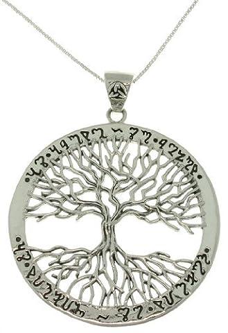 Bijoux tendances Argent sterling Pendentif arbre de vie celtique avec Rune de messages sur chaîne 45,7cm