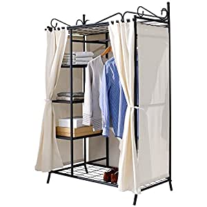 wardrobe breezy with metal frame and cotton cover beige black 109 x 171 x 57 cm. Black Bedroom Furniture Sets. Home Design Ideas