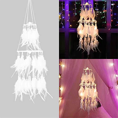 GZQ LED atrapasueños Pluma con Luces de Hadas lámpara Colgante de batería Noche para guardería, Boda, habitación de los niños, decoración de Teepee para Colgar en la Pared