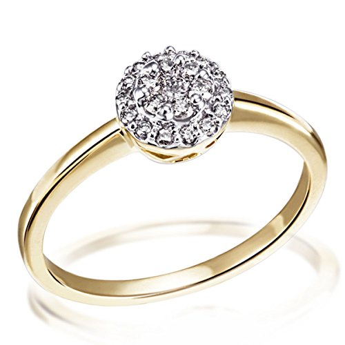 Goldmaid Damen-Ring Gelb Gold 585 21 Diamanten 0,25 Karat Glamourfassung, Grösse 56 Brillanten  Diamantring Verlobung (Diamant-ring Gelb-gold)