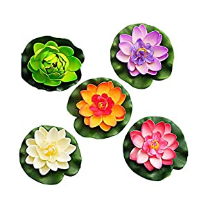 WopenJucy 8 piezas de espuma de agua lirio flor decoración artificial flotante estanque plantas falsas Lotus Multi Color