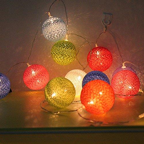 Morbuy Cotton Lichterketten, Wattebausch Lichterketten 6CM Ball Lights LED Lichterkette Festlich Hochzeiten Geburtstag Party 30 Baumwollkugeln LED Batterie Farbe Themen Lichterkette 4.8m