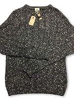 "Bellerose knitwear in grey marl with coloured flecks, welted hem, crew neck, welted cuff, 20% baby alpaca, 15% silk, 65% merino wool. Pit to pit: 19"""