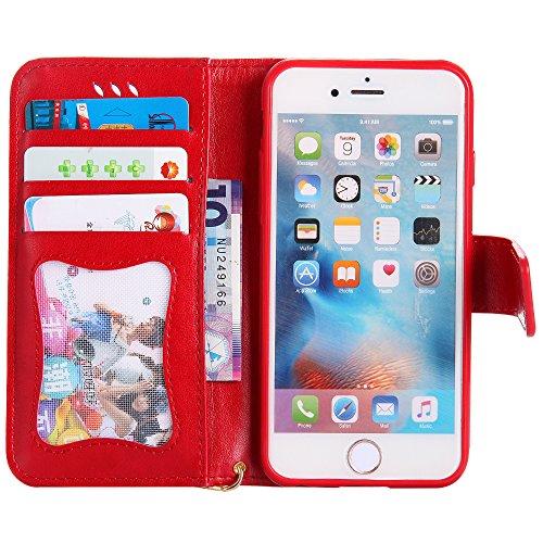 UKDANDANWEI Apple iPhone 6 PLUS Hülle Case, Nacht-Leuchtende Schutzhülle Frau Katze Muster Hülle mit Kartenfächer und Magnetverschluss für Apple iPhone 6 PLUS - Azurblau Rot