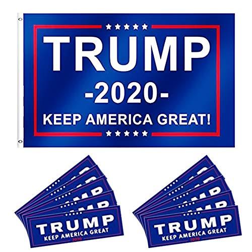 Donald Trump Flagge 2020 (3 x 5 Fuß) mit 10 Stück Stoßstangen-Aufkleber Auto zur Unterstützung von President Trump -
