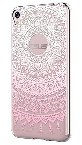 Sunrive Asus ZenFone Live ZB501KL Hülle Silikon, Transparent Handyhülle Schutzhülle Etui Case Backcover für Asus ZenFone Live ZB501KL(TPU Blume rosa)+Gratis Universal Eingabestift