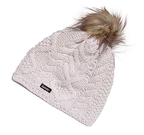 EISBAR MIRELLA Bonnet à LUX MU autrichien d'hiver en tricot Bonnet de Ski en fausse fourrure à Pompon blanc