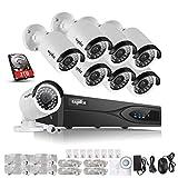 Sannce  Kit de 4 Cámaras de Vigilancia Seguridad, 1280 x 960P, CCTV DVR P2P 4CH AHD y 4 Camaras Impermeable, IR-Cut, HDMI, 36 LEDs, 1TB Disco Duro de vigilancia, 8+8(2TB)
