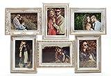 levandeo Fotocollage 96100 für 6 Fotos 10x15 cm Gold Kupfer gewischt, Shabby antik Look - Sehr Edler Barock Bilderrahmen Nostalgie Landhaus Fotogalerie Fotorahmen Bildergalerie