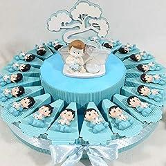 Idea Regalo - 20 calamite bimbo bomboniere pensierini baby shower nascita o battesimo maschio -TORTA 20 FETTE + 20 CALAMITE + 1 CENTRALE + CONFETTI