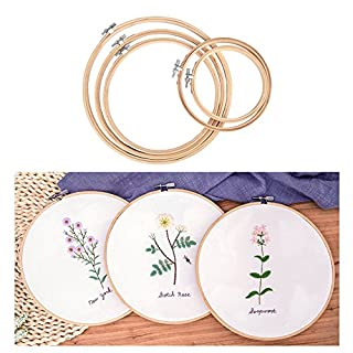 AUSHEN Embroidery Hoop Set 2019 Bamboo Cross Stitch Hoop Round Adjustable Embroidery Circle Set for Arts, Crafts,Sewing in 5 Different Size (Embroidery Hoop Set)