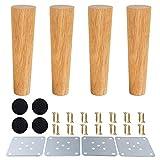 SURFMALL - 4 Patas de Repuesto para Muebles, Color Madera de Roble para sillas, armarios y sofás, con Tornillos y Deslizadores de Fieltro, 8 x 5 x 3,8 cm, Rectas, Grade, 20 x 5 x 3,8cm