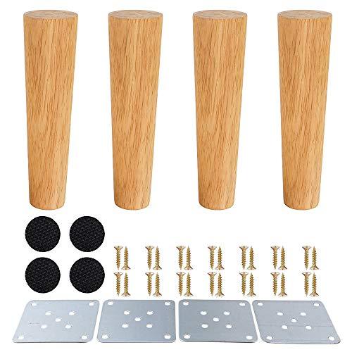 SURFMALL 4 x Möbelfüße Möbelbeine, Holzfarbe Aus Eiche für Stühle, Schrank und Sofa, mit Schrauben und Filzgleiter, 20 x 5 x 3,8 cm gerade