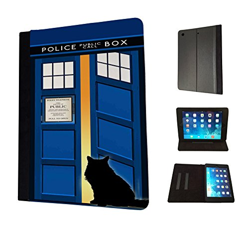 Open-box Apple (453 - Doctor Who Tardis Call Box Cat Open Door Design Apple ipad Mini 4 -2015 Fahion Trend TPU Leder Brieftasche Hülle Flip Cover Book Wallet Stand halter Case)