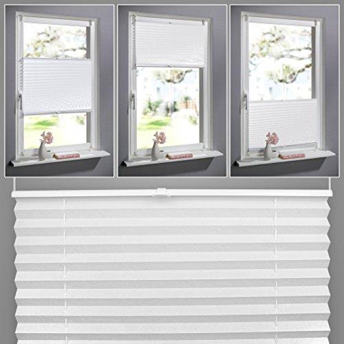 Auralum® Zeitgenössig Plissee mit Gardinenstange Klemmträger Jalousie Montage am Fensterflügel 60x130cm (BxH) Weiß