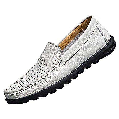 loafer Leder Mokassins Fahrendes Top Beiläufig Wohnungen Stilvoll Qualität Weiß Schlüpfen Herren Auto Rismart wvCAaqn