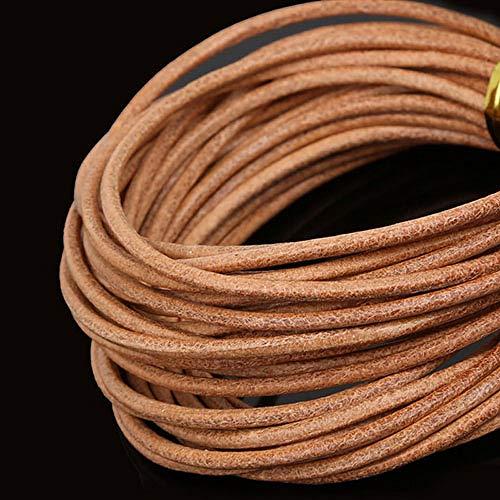 HYZKJ Seil Mischfarbe Runde Echtleder Seil 2Mm Braun/Weiß/Schwarz Perlen Cords Für Kleidung Schuhe Armband Jewlery Craft Making,Nude