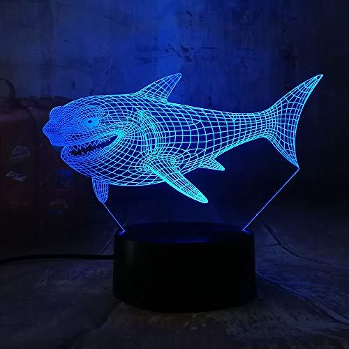 KangYD Kühler Kiefer-Haifisch LED Sichtnachtlicht, Tischlampe 3D, Raumdekor, Farbe der Note 7 (Sprungs-Weiß), Schlaflampe, Glücksgeschenk