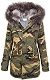 Damen Winter Parka Kunstfell Kapuze Army-Look warm D-197 S-L, Grau, L