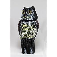 Señuelo con diseño de búho grande y realista con cabeza giratoria, espantapájaros de cuervos