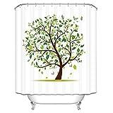 CQSMOO Stoff Duschvorhang Weißer europäischer handbemalter Baum-starker wasserdichter wasserdichter Mehltau-Badezimmertrennvorhang (Größe: 180 * 200cm) by (Größe : 180 * 180cm)