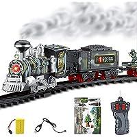 ZMH Electric Dynamic Steam RC Track Train Set Modelo De Simulación De Juguete para Niños Recargable Niños Control Remoto Set De Juguete