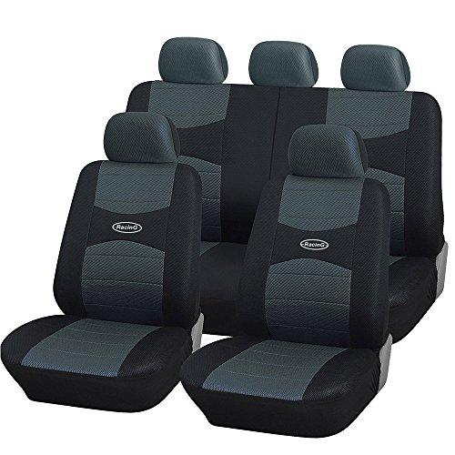 Coprisedili auto universali con copri volante e copri cintura in tinta con i sedili - a19 (grigio/nero)