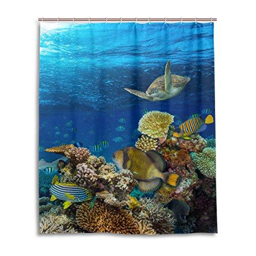 mydaily Underwater Sea Coral Reef Ocean Duschvorhang Fische 152,4x 182,9cm, schimmelresistent & Wasserdicht Polyester Dekoration Badezimmer Vorhang (Coral Reef Duschvorhang)
