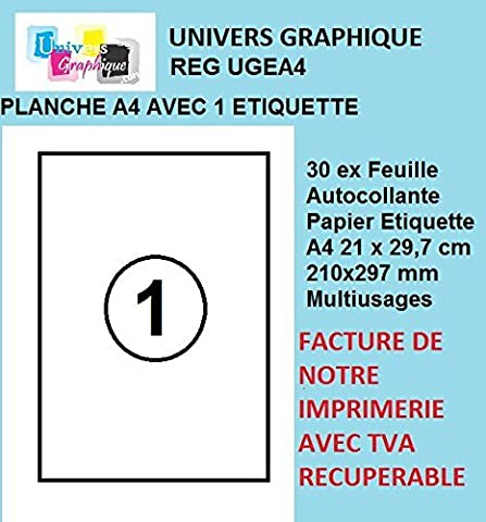 50 feuilles A4 papier adhésif blanc - Étiquette autocollante 210x297mm - planche adhésive permanente marque UNIVERS GRAPHIQUE- UGEA4 FACTURE AVEC TVA
