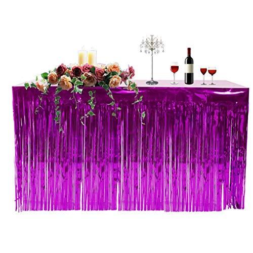Morza Metallic Fringe Foil Table Rock Tinsel Tabelle Vorhang für Luau Party-Geburtstags-Sommer-Jahrestag Weihnachten Tischdekoration (Röcke Fringe Tabelle)