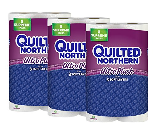 Toilet Paper Quilted Northern Ultra Plush, 24 Supreme (90+ Regular) Bath Tissue Rolls by Quilted Northern