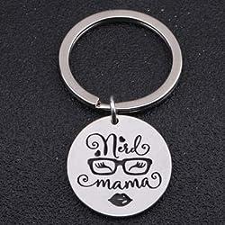 MEIHEK 1 unids Nerd Mama Llavero Gafas Patrón para Mamá Regalo Joyería Estilos de Moda Clave Colgante Mujer Linda Regalo del Día de la Madre Accesorios de Plata