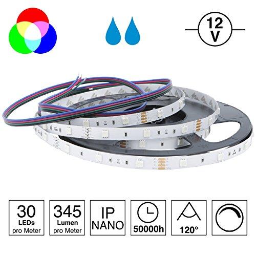 iluminize LED-Streifen RGB: sehr hochwertiger LED-Streifen RGB Ambiente mit 30 LEDs pro Meter, hoch selektiert, 12V, 7,2W pro Meter, 5 m auf Rolle (12V 30 LEDs/m IP65NANO)