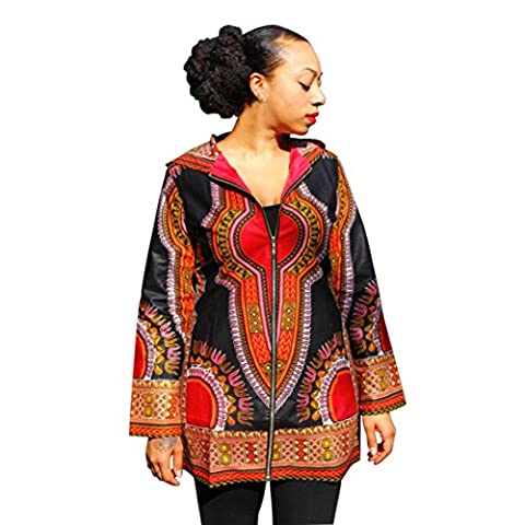 Ouneed Fashion African Print Women Hooded Mini Dresses (XL, Black)