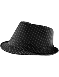 58bfe978593 Itzu Classic Adult Mens Pinstripe Trilby Fedora Hat with Band (Black