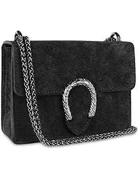 Gloop Damen Clutch echt Leder Tasche Abendtasche mit Kette Handtasche Made in Italy