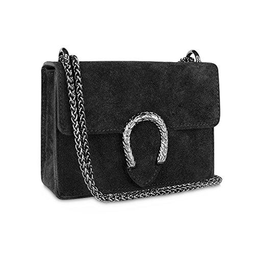 Glamexx24 Damen Clutch echt Leder Tasche Abendtasche mit Kette Handtasche Made in Italy Schwarz - Chanel Schwarz Leder