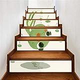 YFXGSTLI DIY 3D Treppe Wandaufkleber Kunst Treppenstufen Aufkleber Abnehmbare Wohnkultur Keramikfliesen Frosch Muster Muster Vintage Wohnkultur 6 Teile/Satz 18 * 100 cm
