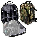 Duragadget Sac à Dos résistant à l'eau Motifs Camouflage pour Canon EOS 4000D, EOS 2000D, Nikon D3500 appareils Photo Reflex et Leurs Accessoires - Bretelles rembourrées