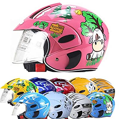 JKSX Motorcycle Helmet for Children,Motorbike Half Helmets,Electric Motorcycle Four Seasons Moped Boys Girls Kids Childs,10 Colors Style. by JKSX