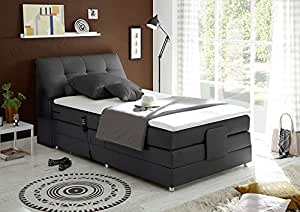 boxspringbett 120x200 elektrisch verstellbar mit motor bettkasten farbe anthrazit inkl. Black Bedroom Furniture Sets. Home Design Ideas