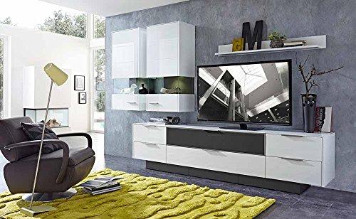9-tlg Wohnwand in Hochglanz weiß/grau mit Akustik-Fächern und LED-Beleuchtung, Gesamtmaß B/H/T ca. 300/208/51 cm