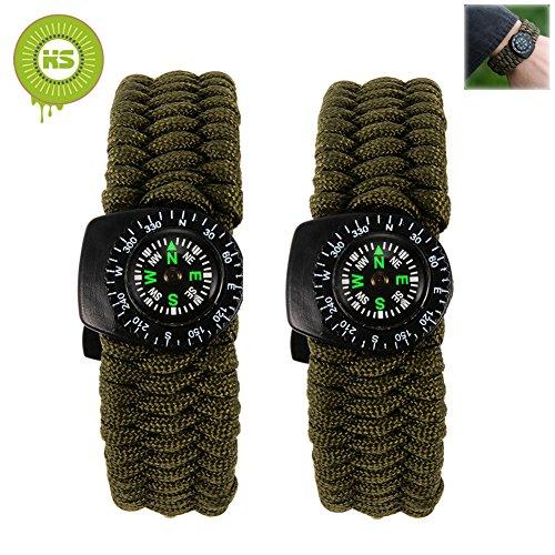 bcony-2-pezzi-verde-braccialetto-paracord-sopravvivenza-corda-con-fischietto-pietra-focaia-raschiett