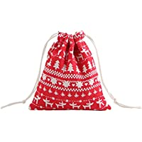 Christmas innovadora Storage Bag Cotton Linen Cordón Bundle Bag dibujos animados Printing Candy Tea Gift Bag, Rojo