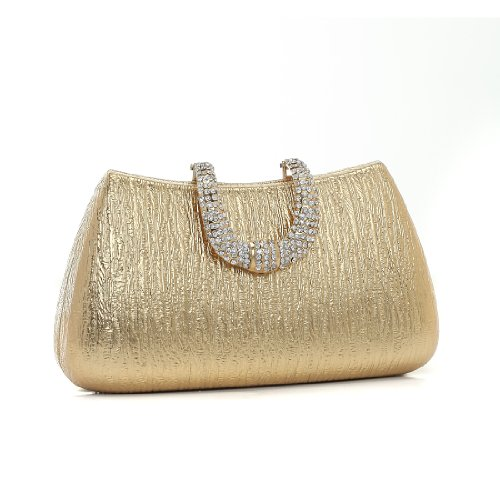 Damara Elegant Damen Mini Hartschalen Clutch Abendtasche,Gold Gold